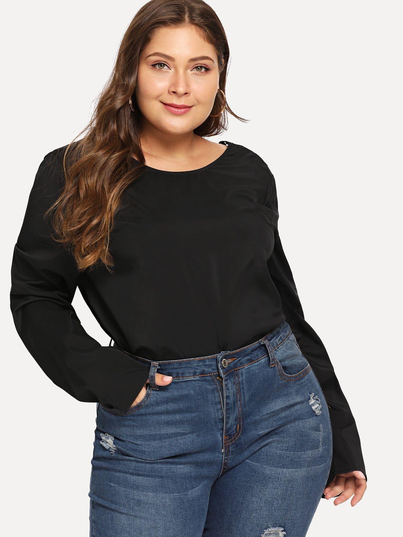 Купить Большая простая блуза с круглым воротником, Carol, SheIn