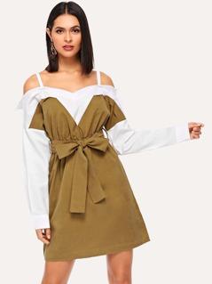 Cold Shoulder Color-Block Dress