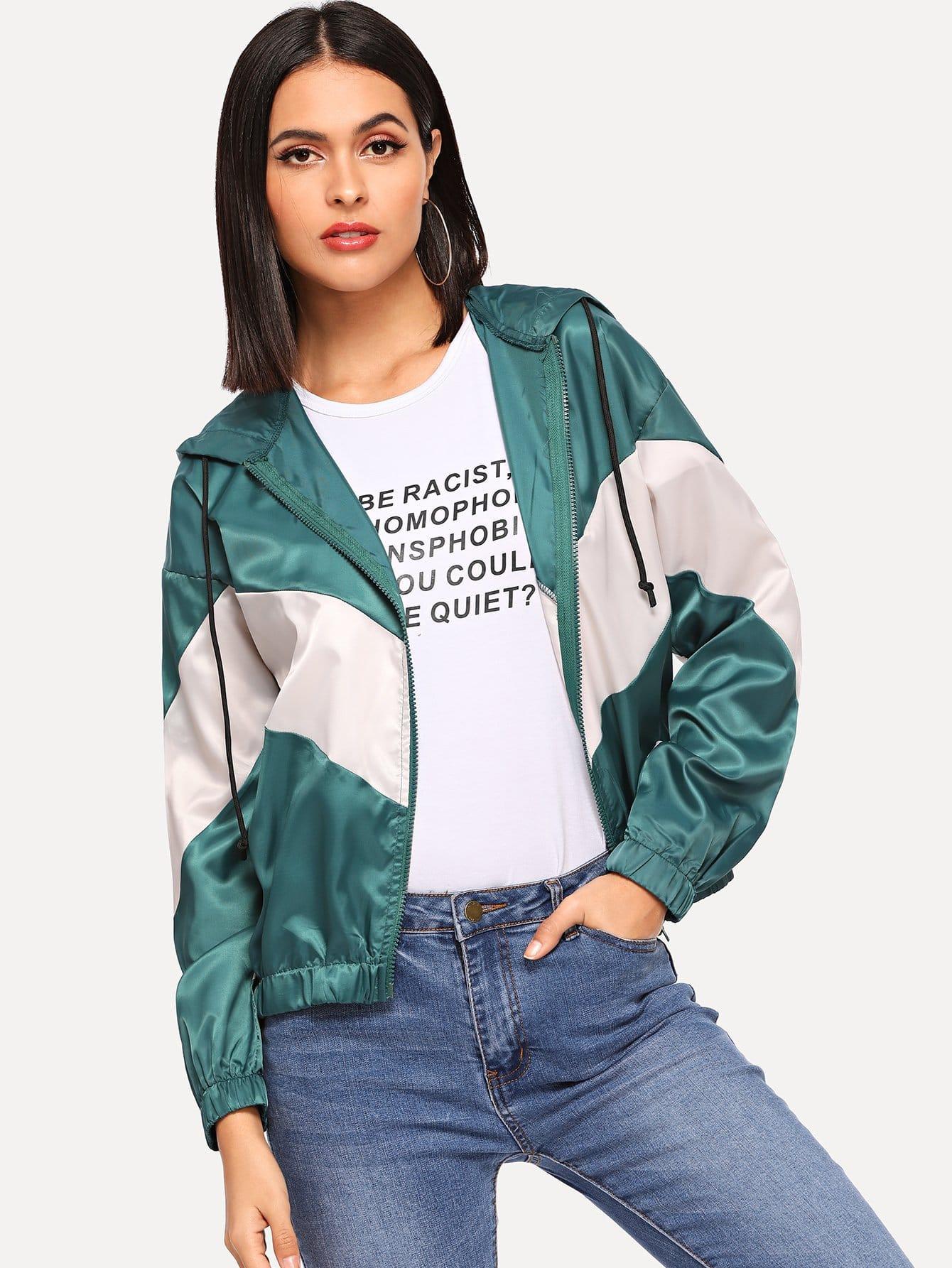 Купить Zip Up Color Block Hoodie Jacket, Verob, SheIn