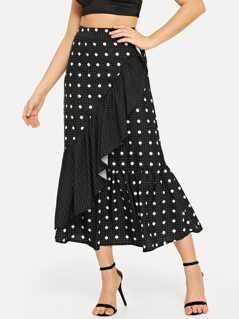 Wide Waistband Polka Dot Skirt