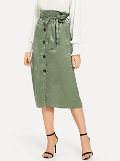 Belted Frill Waist Button Skirt
