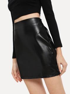Solid PU Bodycon Skirt