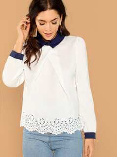 Keyhole Back Scallop Collar Top