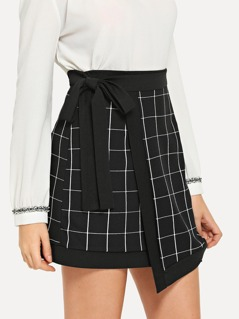 Knot Side Grid Print Skirt
