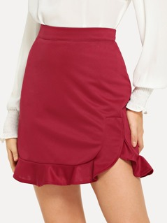 Solid Ruffle Hem Skirt