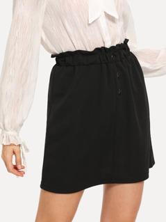 Button Detail Frill Waist Skirt