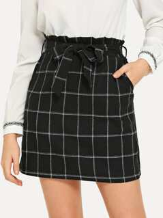Self Belted Plaid Skirt