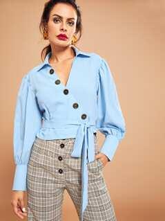 Button Up Crop Wrap Shirt