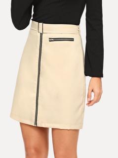 Belted Zipper Up Skirt