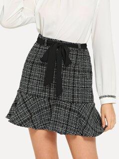 Flounce Hem Tweed Skirt