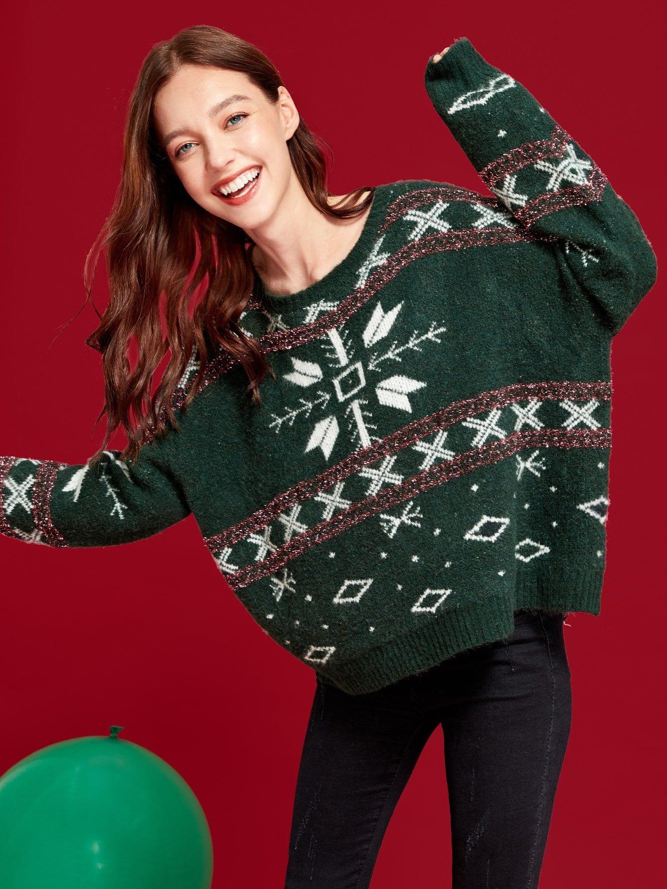 Купить Контрастный свитер с смешанным принтом, Poly, SheIn