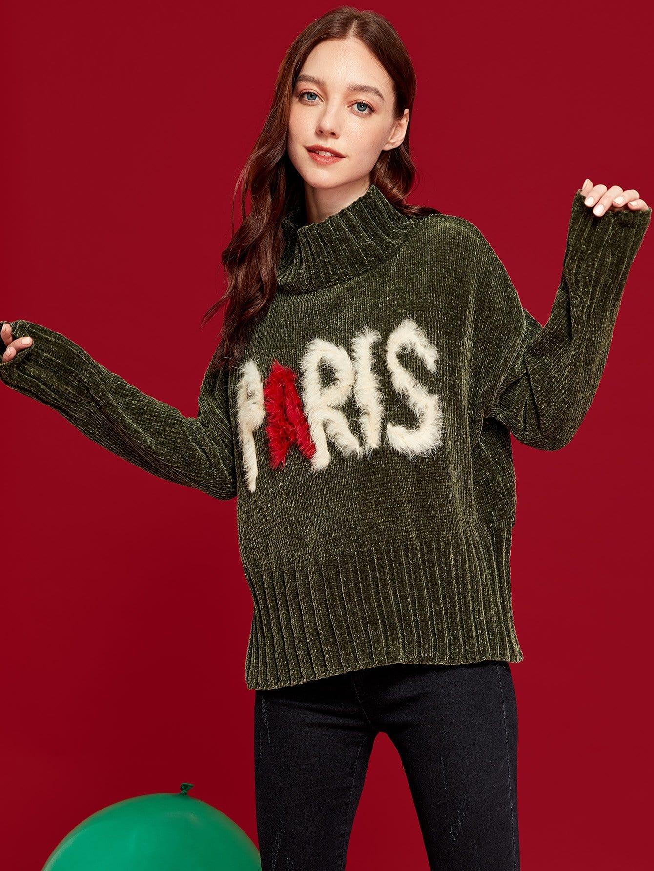 Купить Контрастный свитер с искусственным мехом, Poly, SheIn