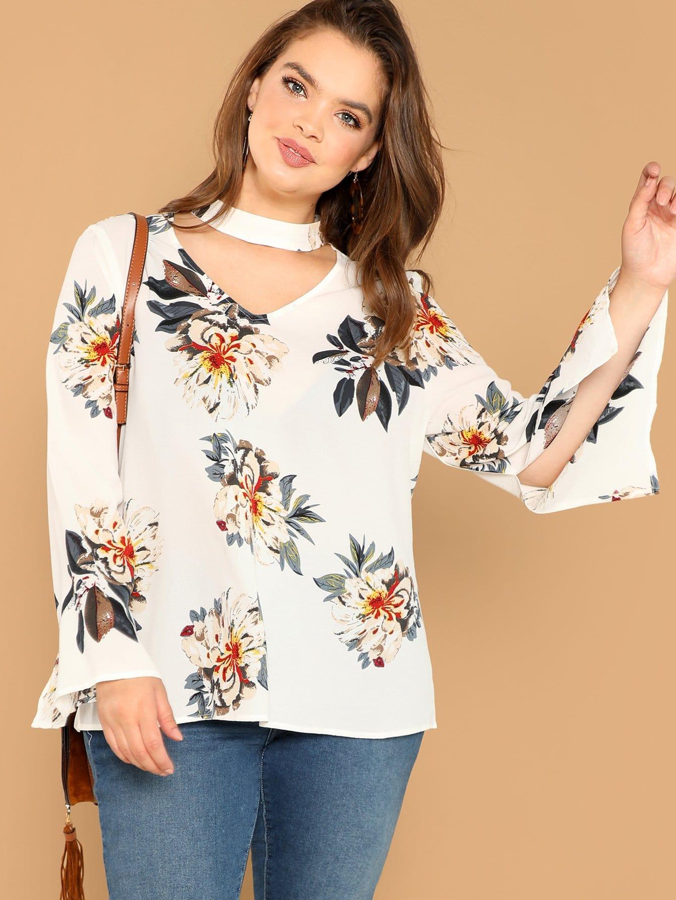 Купить Плюс размеры блузка с цветочным принтом, Bree Kish, SheIn