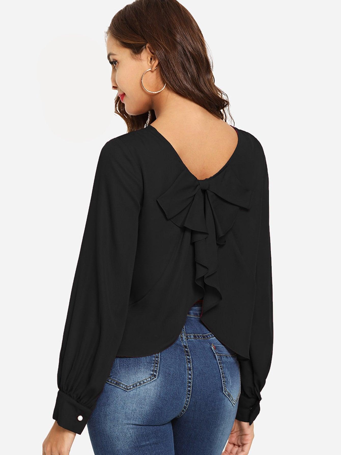 Купить Сплит сзади блузка с оборками с бантом, Giulia, SheIn