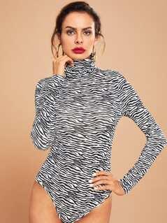 High Neck Zebra Print Bodysuit