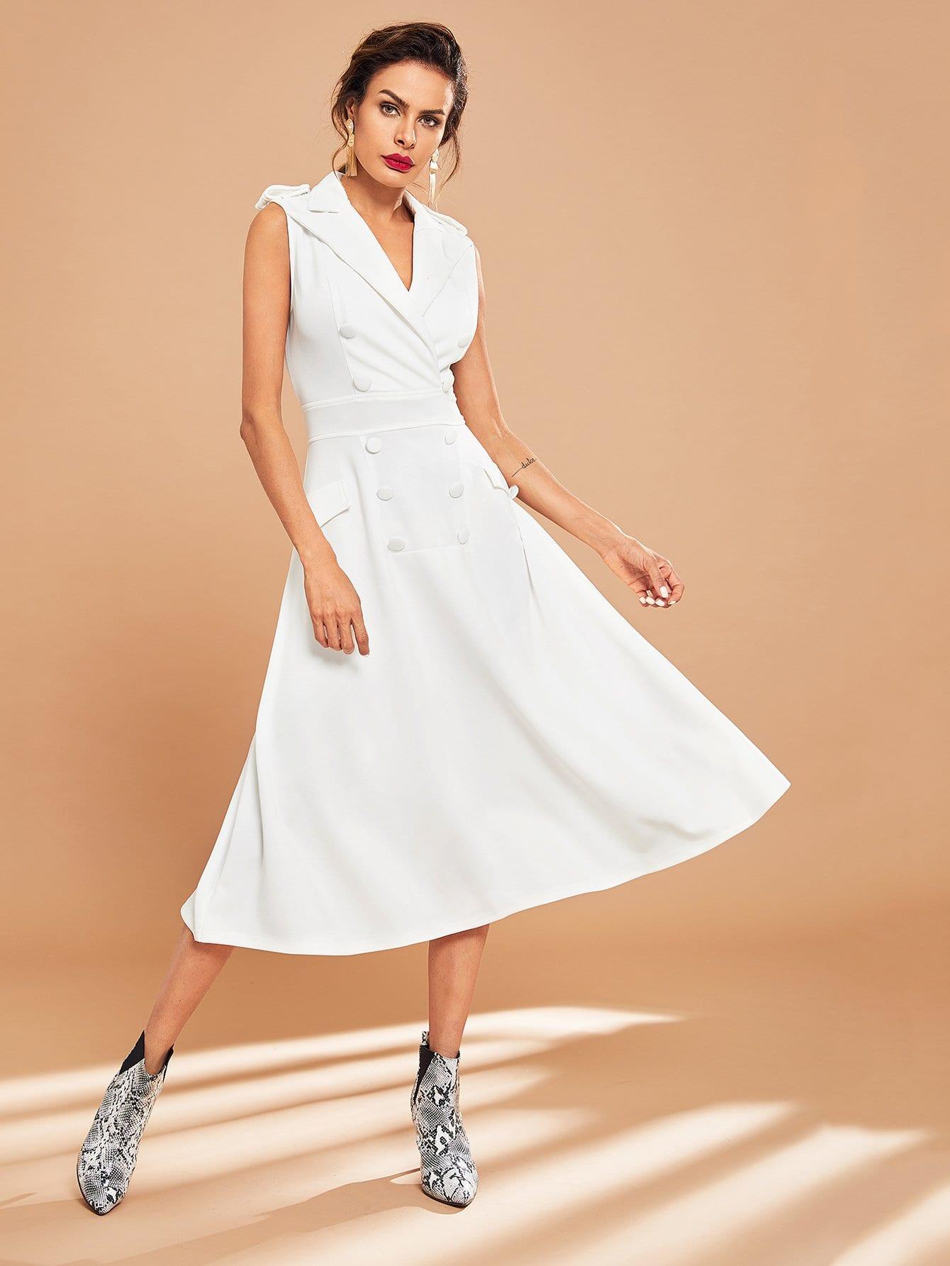 Купить Двубортное платье с зубчатым воротником с карманом, Andy, SheIn