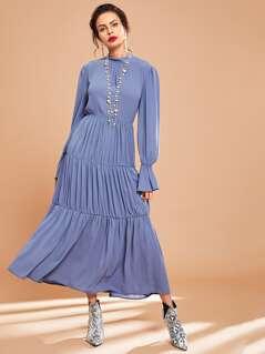 Flounce Sleeve Tiered Maxi Dress