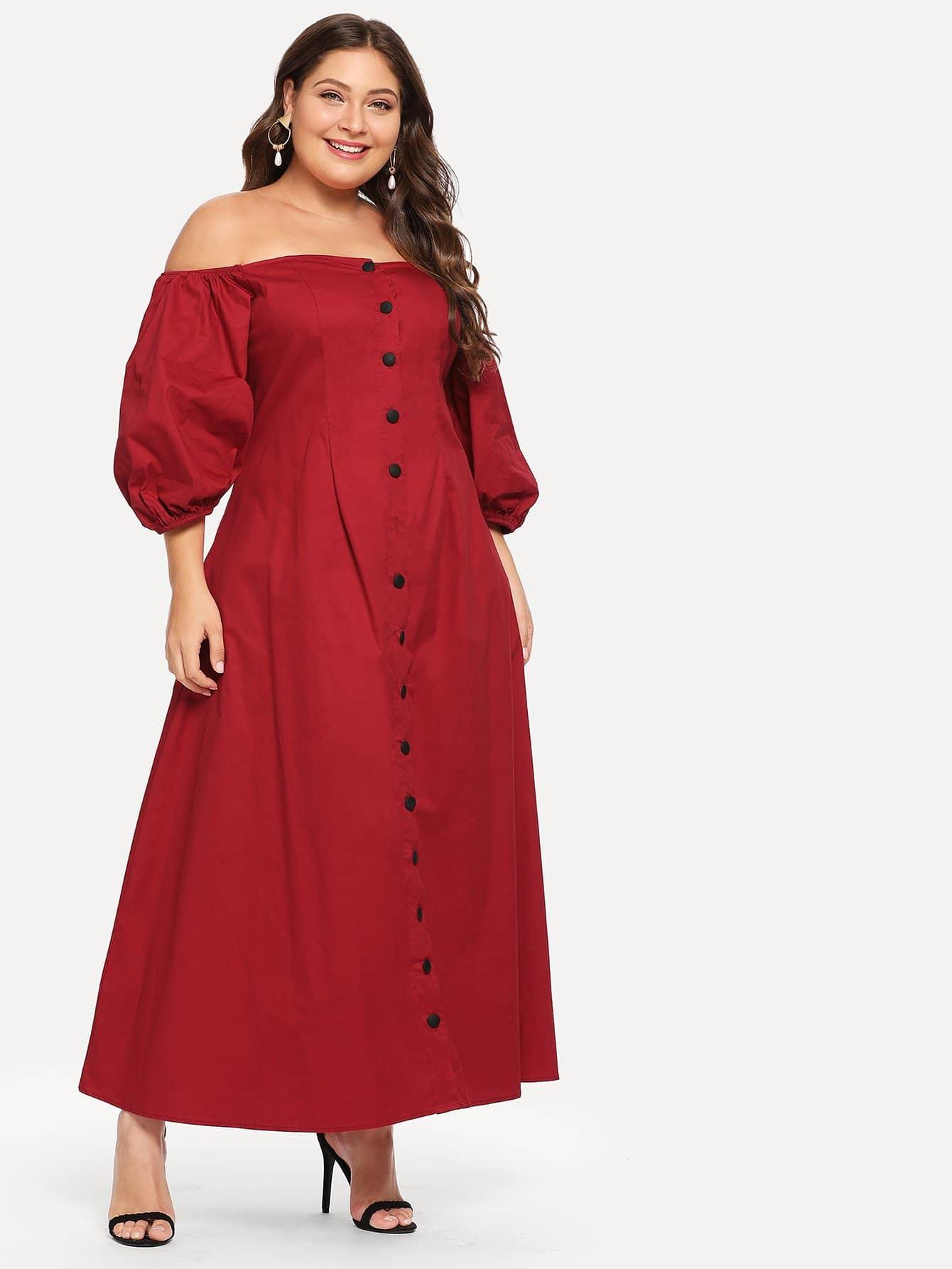 Плюс размеры платье на пуговицах с открытыми плечами