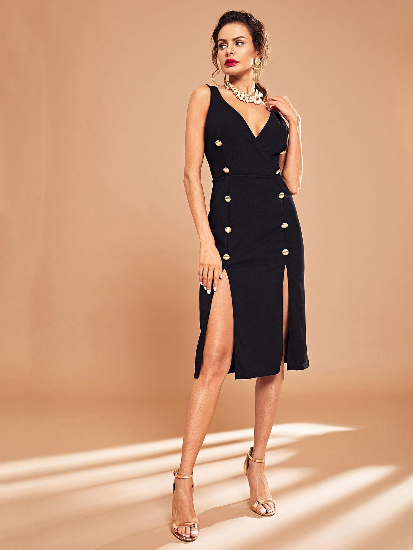 Купить Платье с двойным v-образным вырезом, Andy, SheIn