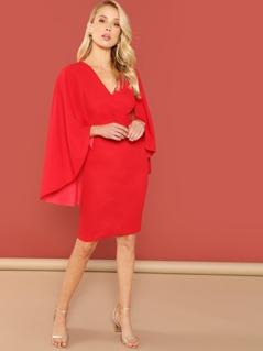 Cloak Sleeve Surplice Wrap Bodycon Dress