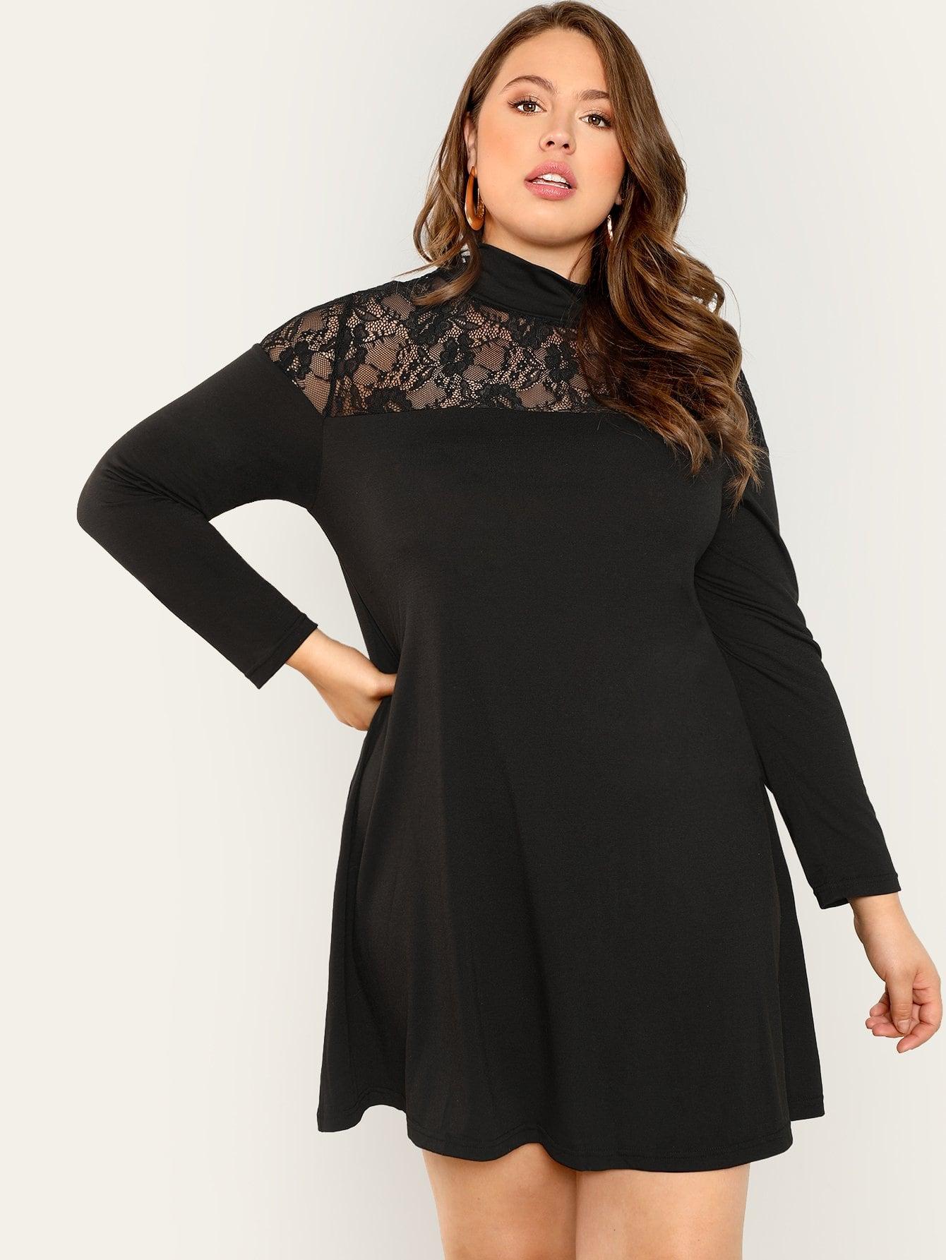 Sheer Lace Yoke Tee Dress  7c509946c