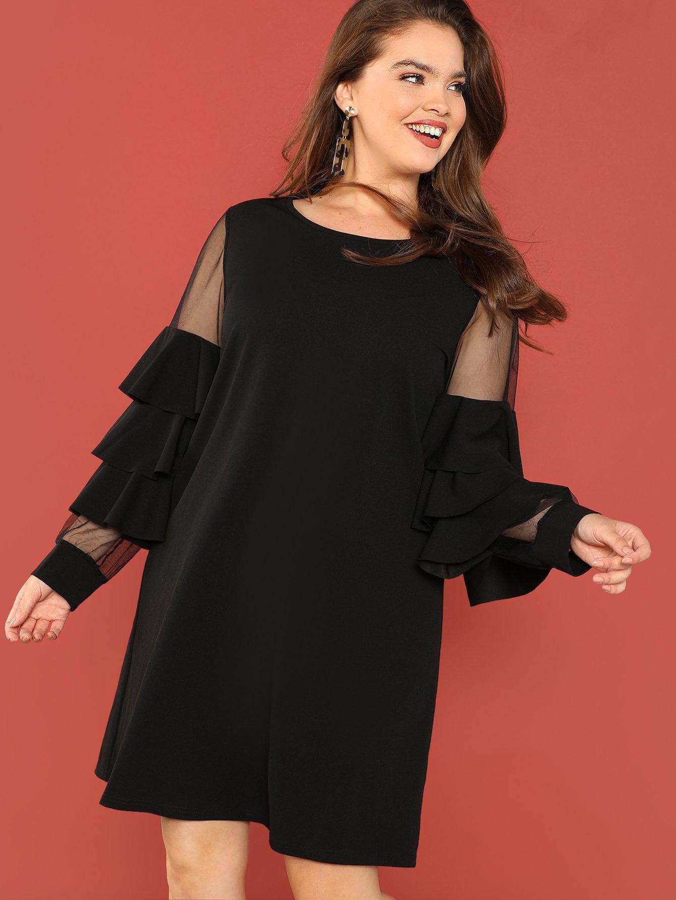 Плюс размеры прозрачные сетки вставки платье с оборками
