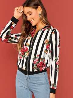 Floral Print Striped Bomber Jacket