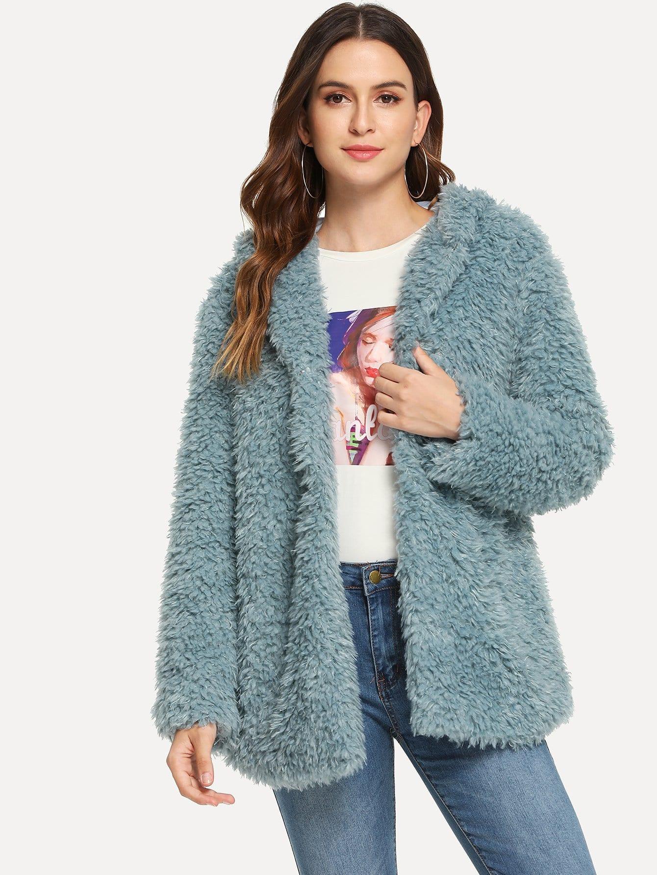 Пальто с капюшоном из искусственого меха SheIn