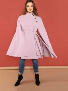 Plus Cape Sleeve Self Belted Coat