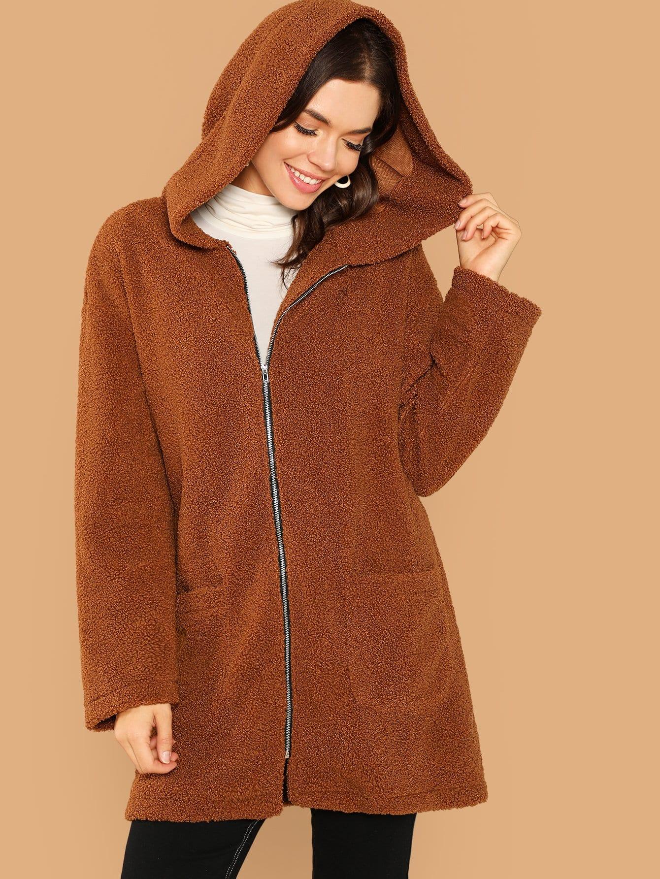 Тедди пальто с капюшоном на молнии с карманом, Alex Rousset, SheIn  - купить со скидкой