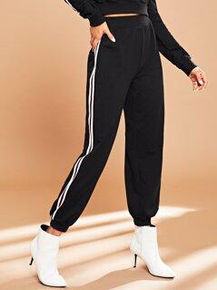 Striped Side Elastic Waist Pants