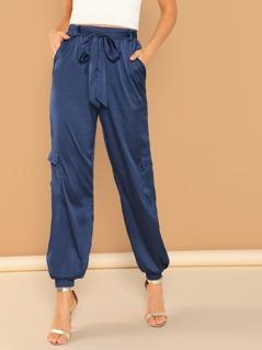 Flap Pocket Side Belted Satin Lantern Pants