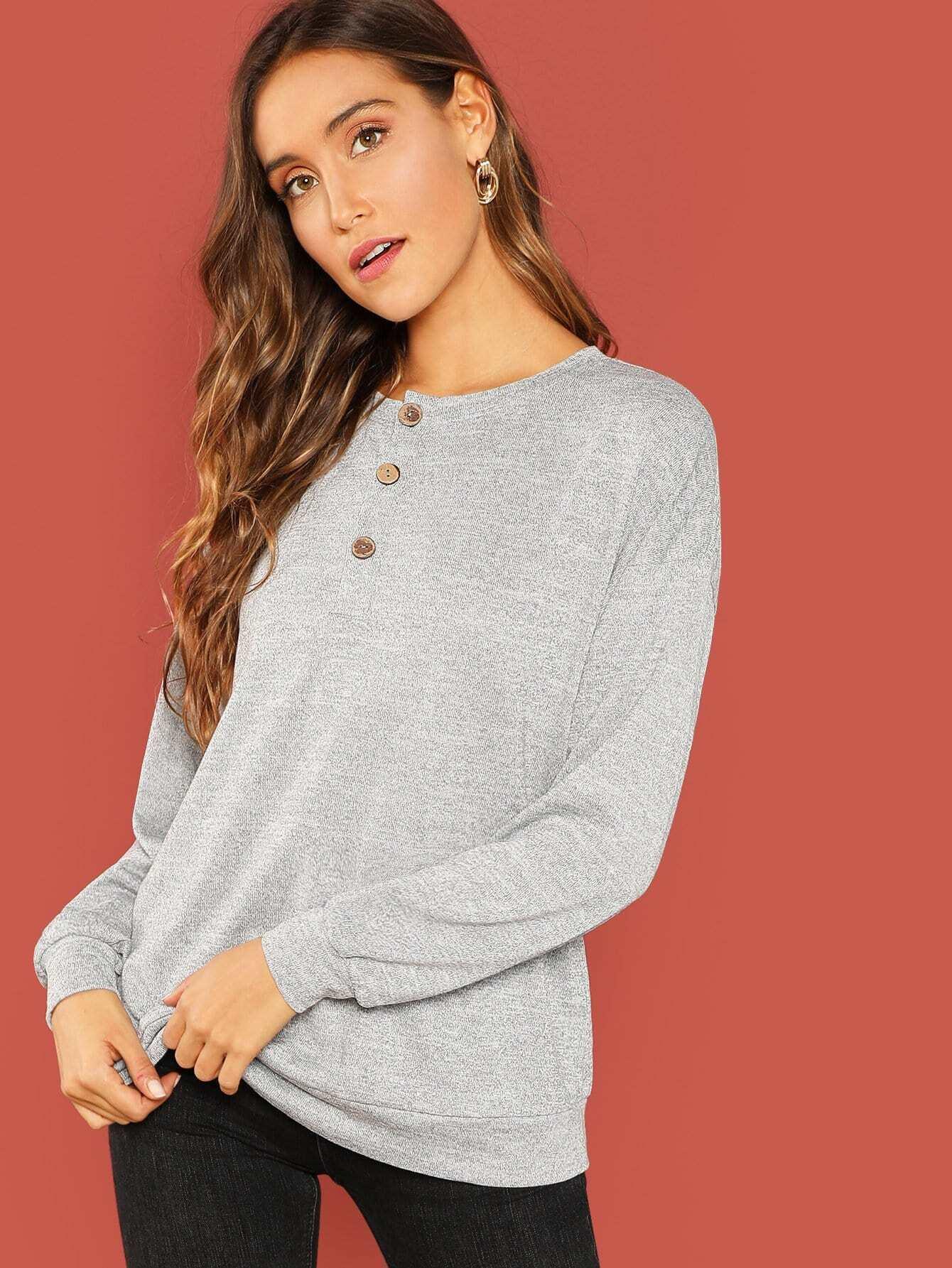 Твердый пуловер на пуговицах, Anna Herrin, SheIn  - купить со скидкой