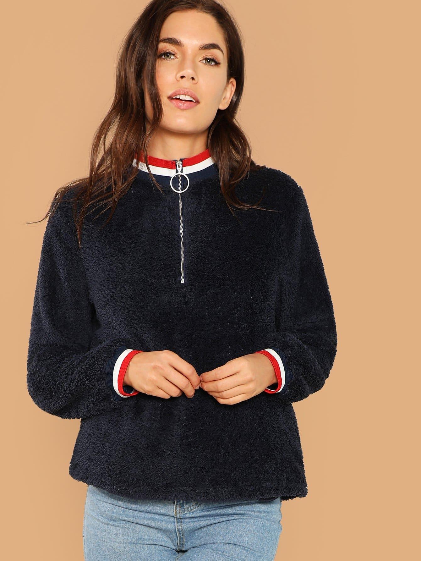 Фото - Пуловер на молнии от SheIn цвет темно синий