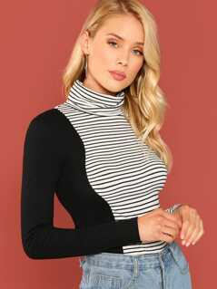 High Neck Striped Tee