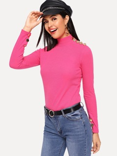 Neon Pink Button Detail Mock Neck Tee