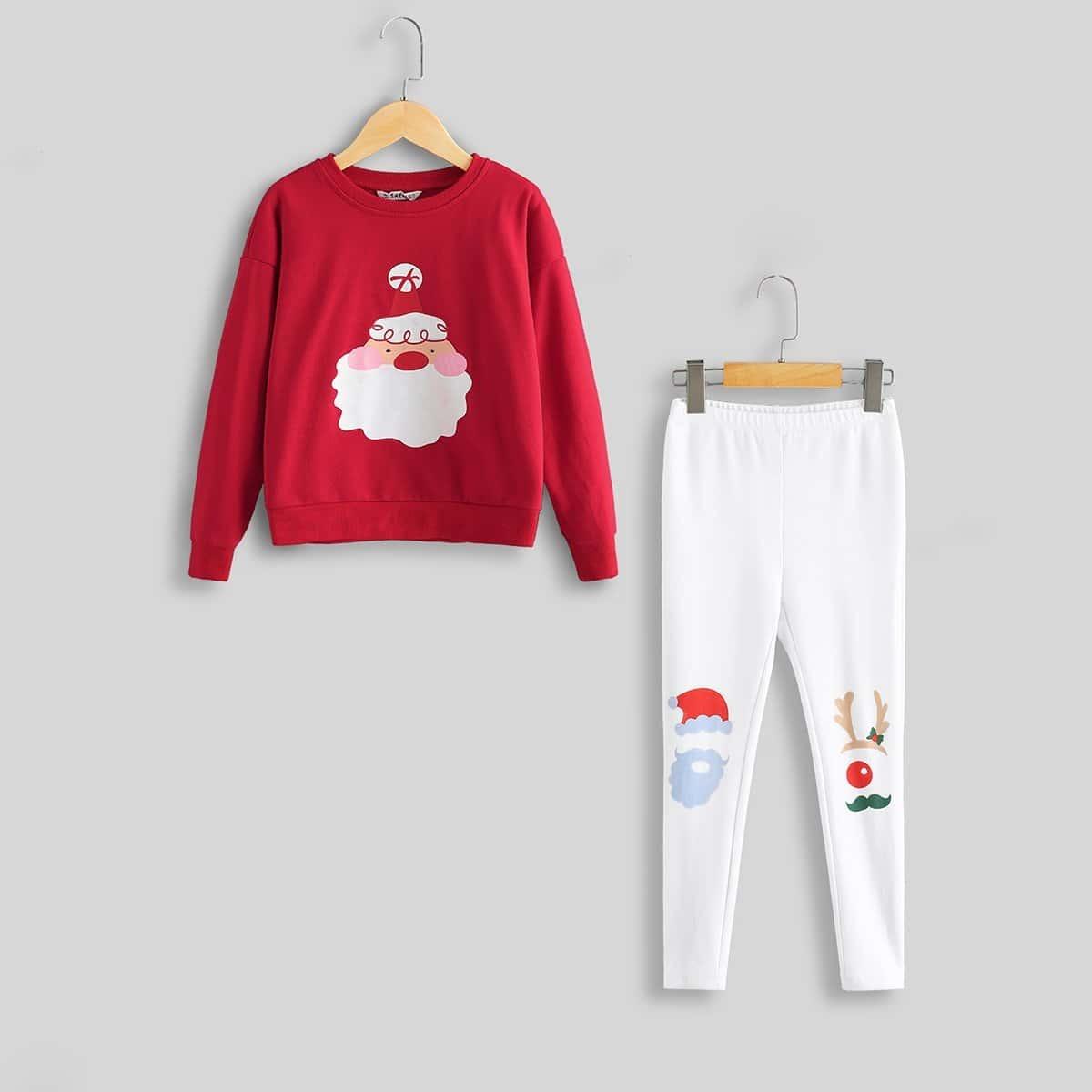Блуза с принтом Санта-Клаус и брюки для девочек от SHEIN