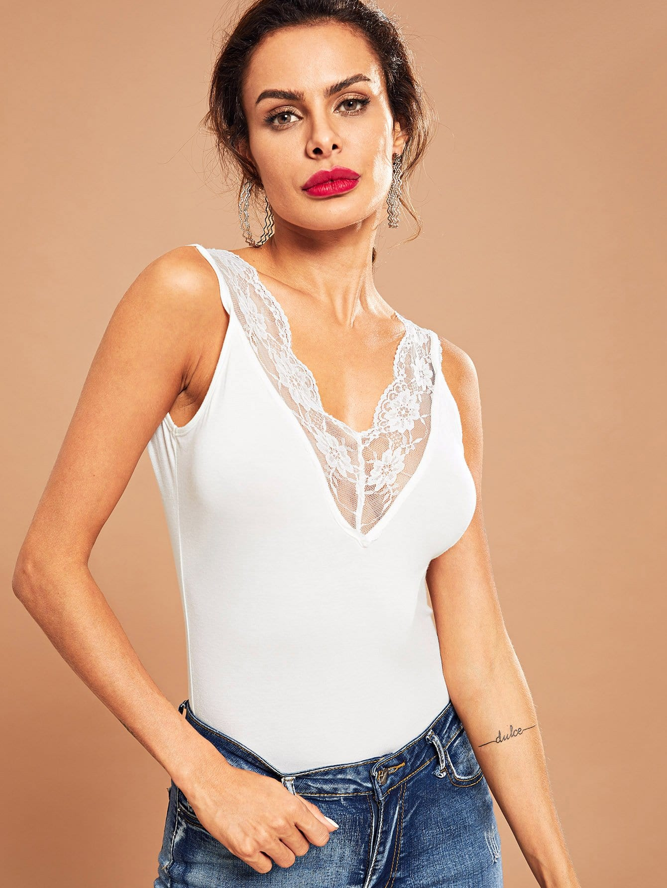 Купить Блуза с двумя V-образного выреза и прозрачными кружевными оторочками, Andy, SheIn