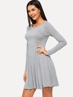Lace Up Solid Dress