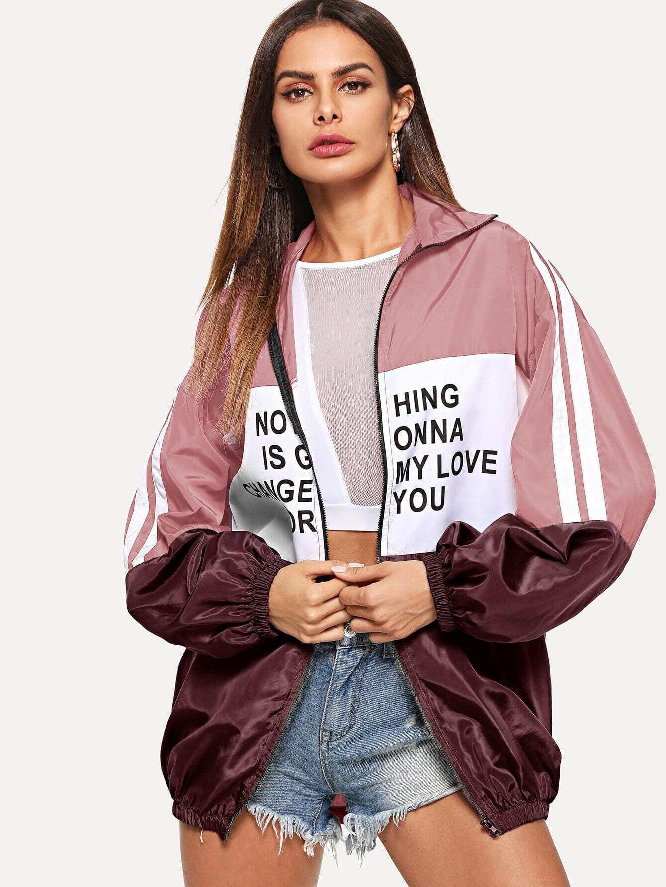 Купить Контрастная куртка на молнии с текстовым принтом, null, SheIn