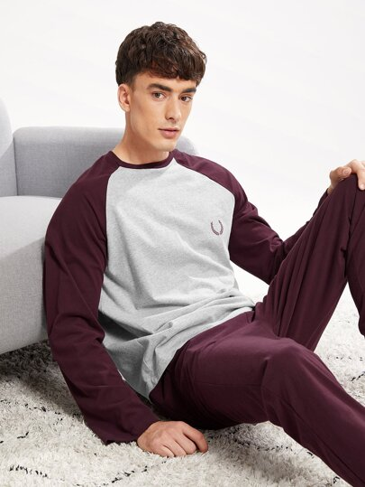 ffbdcdfb1f Men Color-Block Raglan Sleeve Tee & Pants PJ Set | SHEIN IN