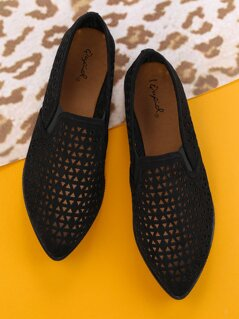 Laser Cut Out Detail Pointed Slip On Flat Loafers