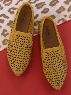 Perforated Detail Slip On Flat Penny Loafer