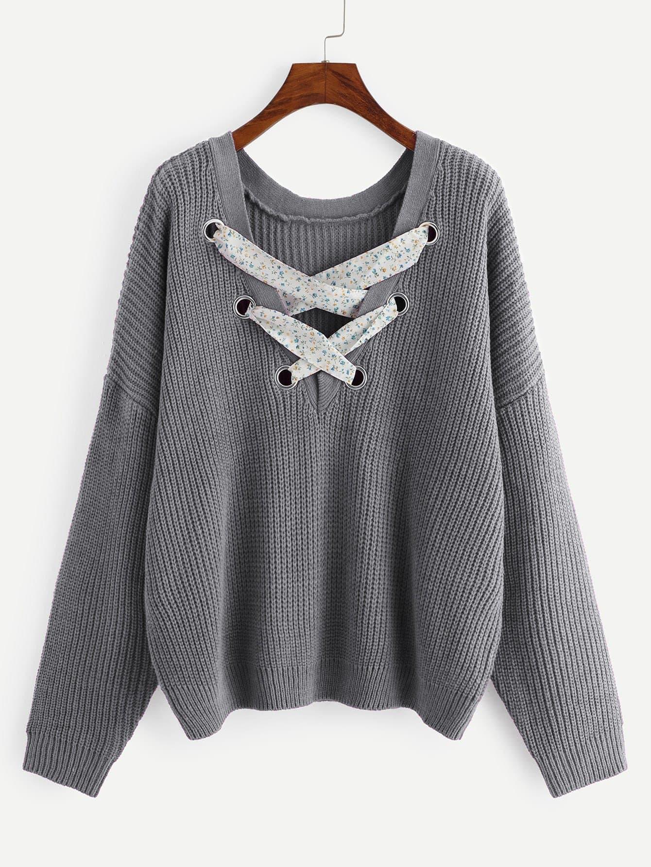 Купить Размера плюс вязаный свитер с заниженной линией плеч и крест-на-крест, null, SheIn
