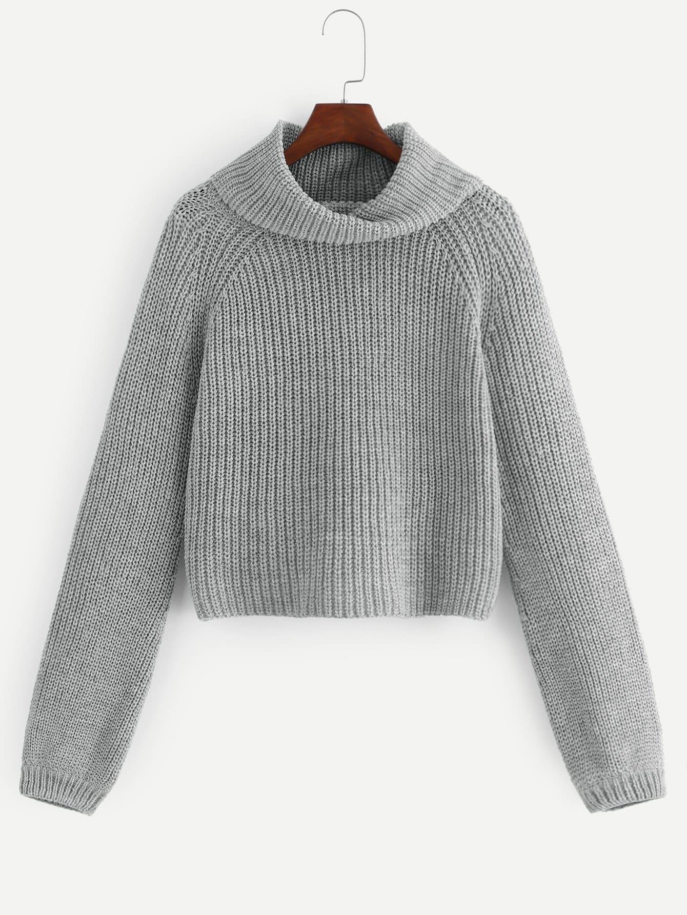 Фото - Размера плюс свитер с рукав-регланами и рольным воротником от SheIn цвет серые