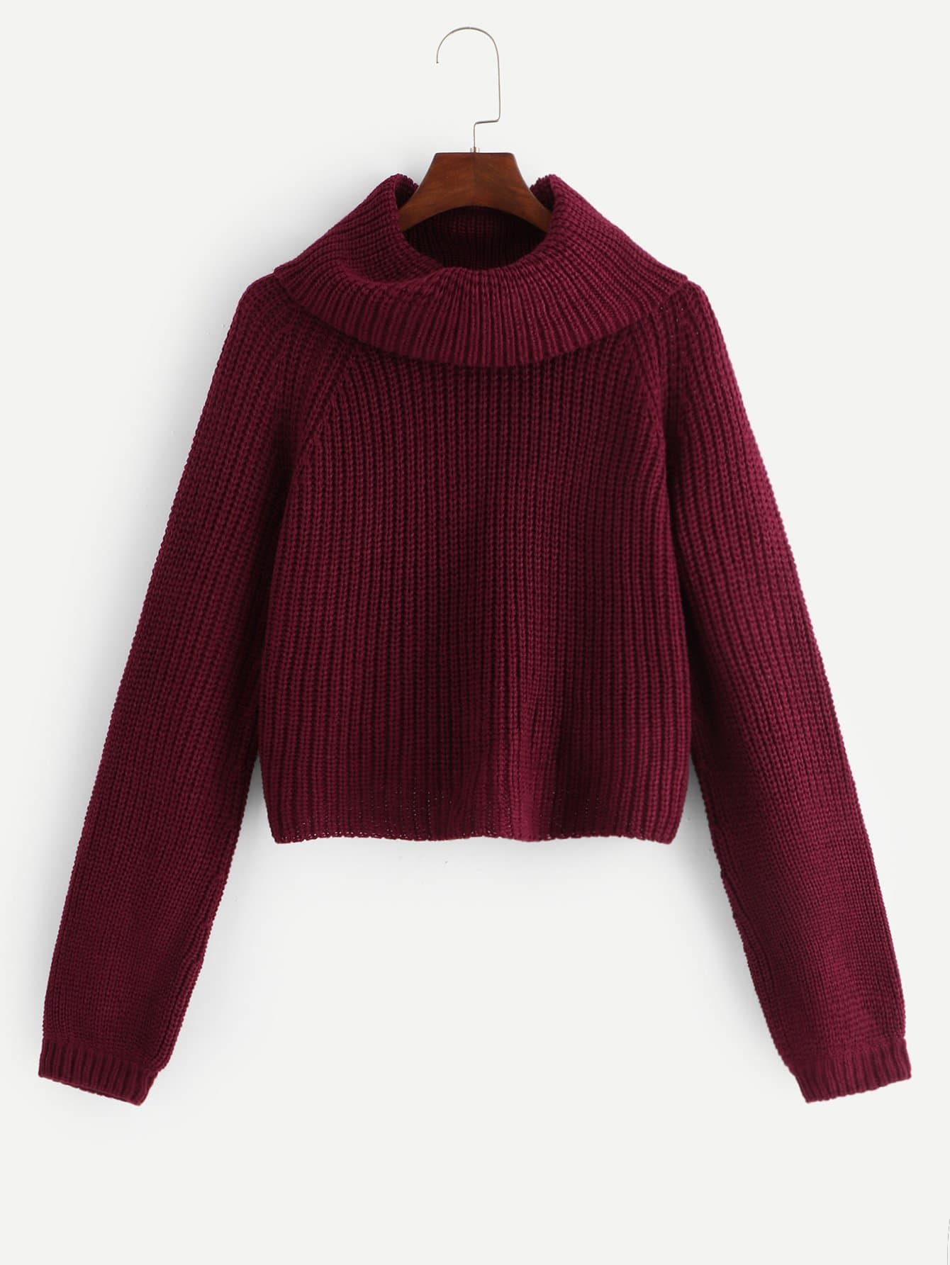 Фото - Размера плюс свитер с рукав-регланами и рольным воротником от SheIn цвет бургундия