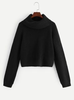 Rolled Neck Raglan Sleeve Jumper