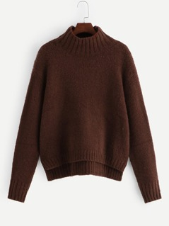 Solid Stepped Hem Jumper
