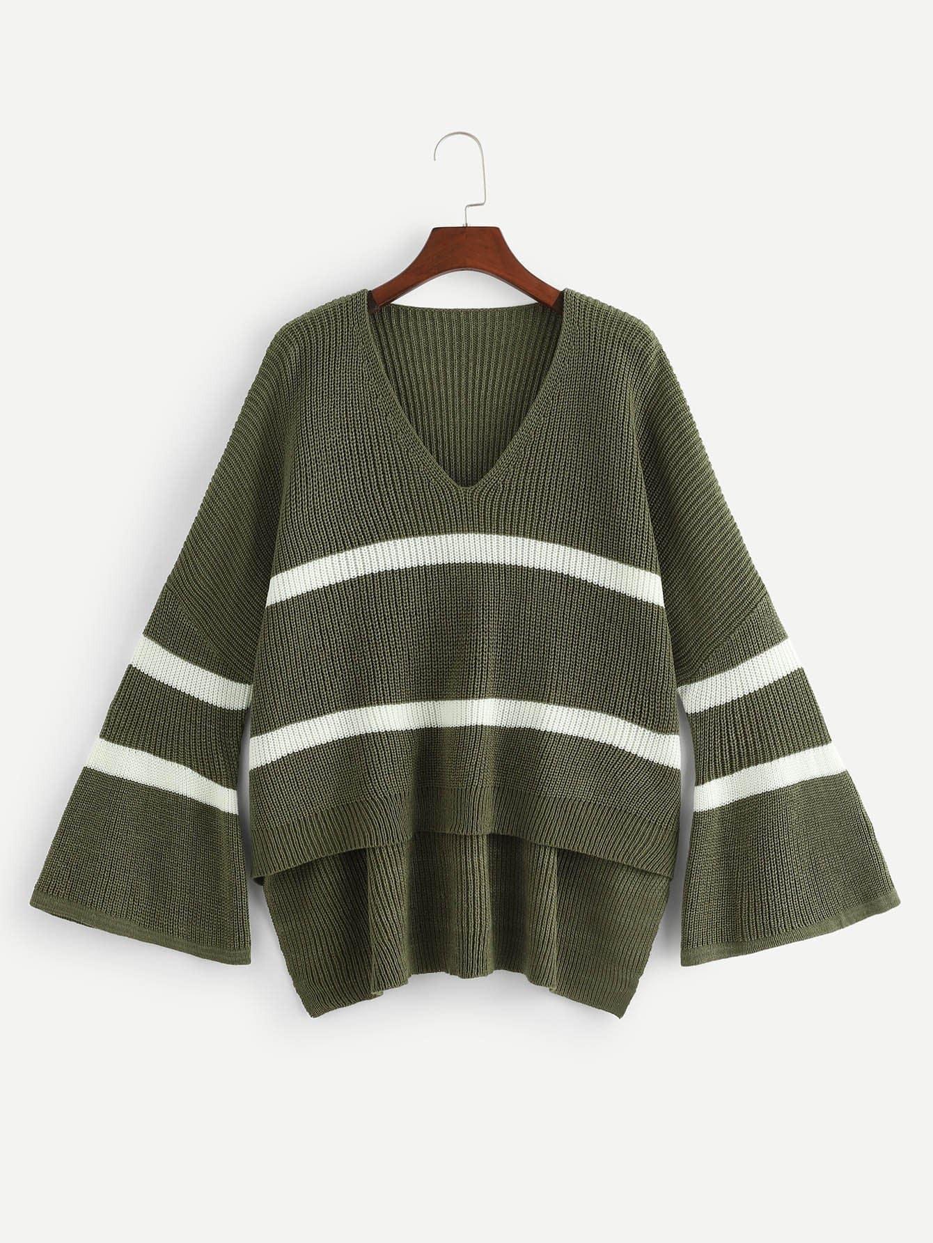 Купить Контрастный свитер с рукавами клёш, null, SheIn