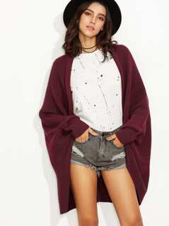 Open Front Solid Cocoon Cardigan